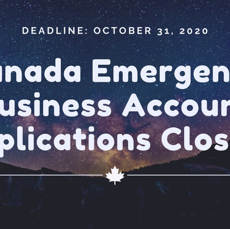 Canada Emergency Business Account Loan Applications Close on Halloween