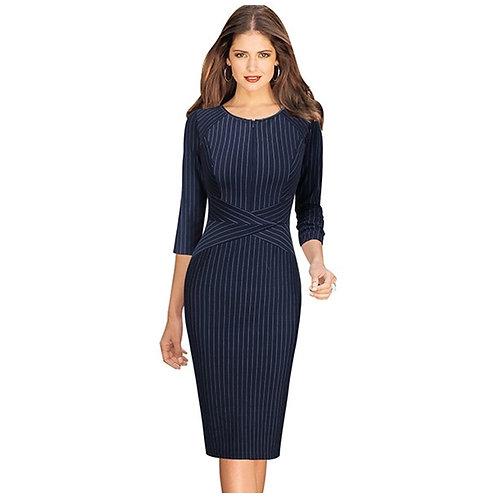 Vfemage Zip Front Half Sleeve Dress