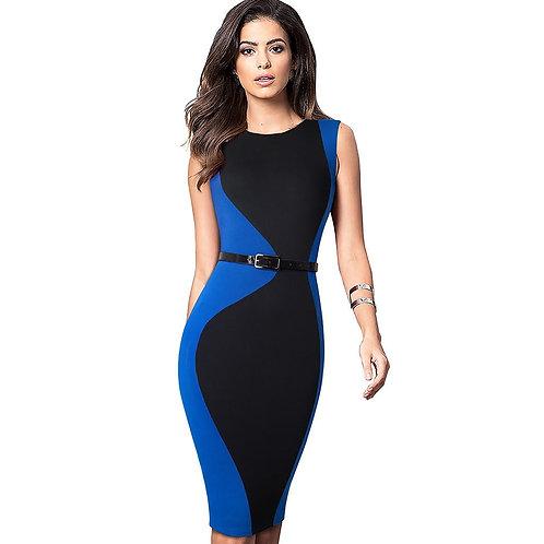 HOMEYEE Contrast Sleeveless Belted Dress