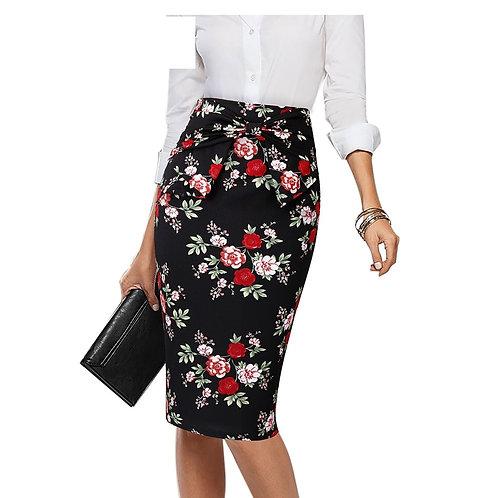 Vfemage Bow Waist Flower Skirt