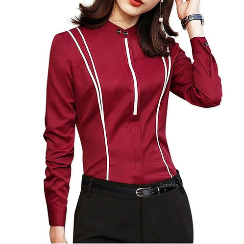 Notch Collar Long Sleeve Top