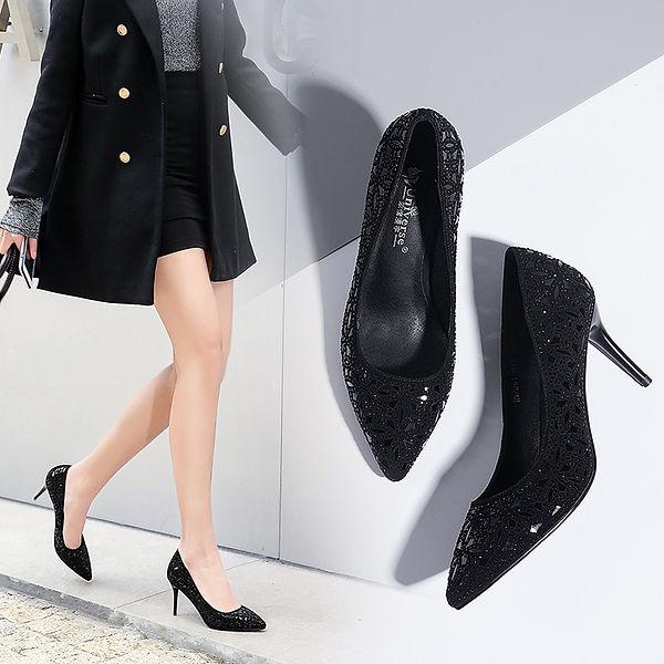 black shoe, crystal kitten heels pump shoe