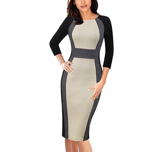 Vfemage Colorblock Short Sleeve Sheath Dress
