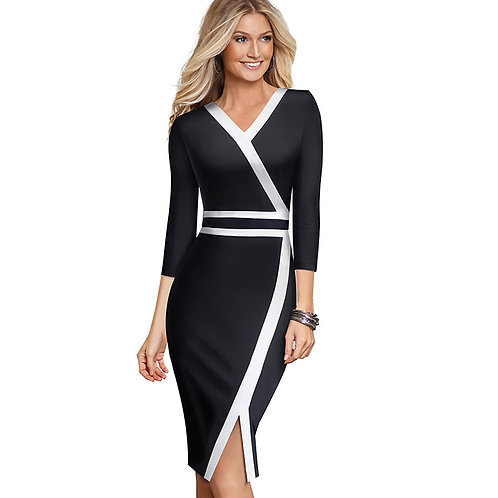 Homeyee Colorblock V-Neck Dress