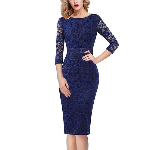 "Vfemage ""Elegant"" Floral Lace 3/4 Sleeve Dress"