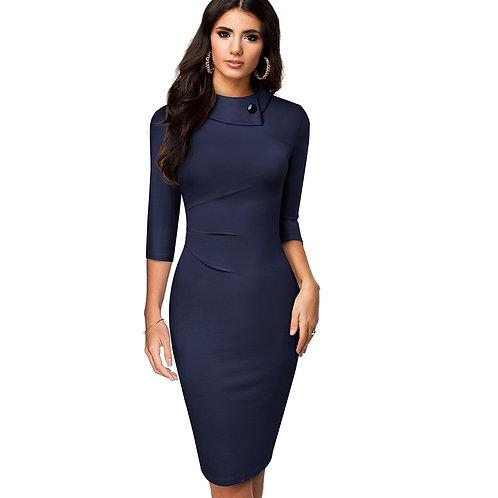 Homeyee Elegant Turn-down Collar Dress