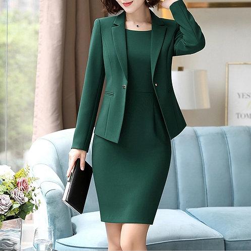 Elegant One Button Jacket & Sheath Dress
