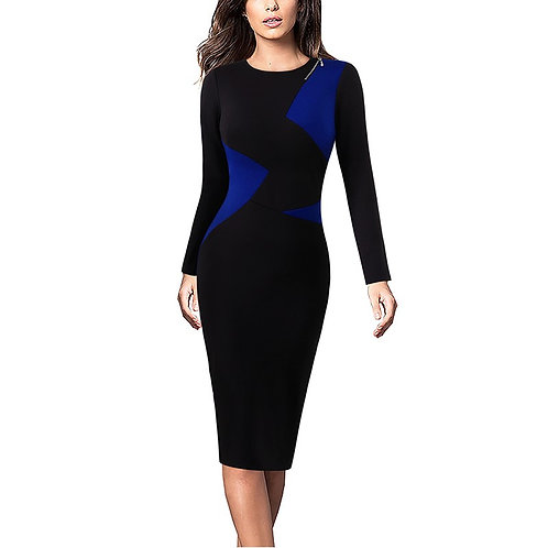 Vfemage Zipper Detail Colorblocked Dress