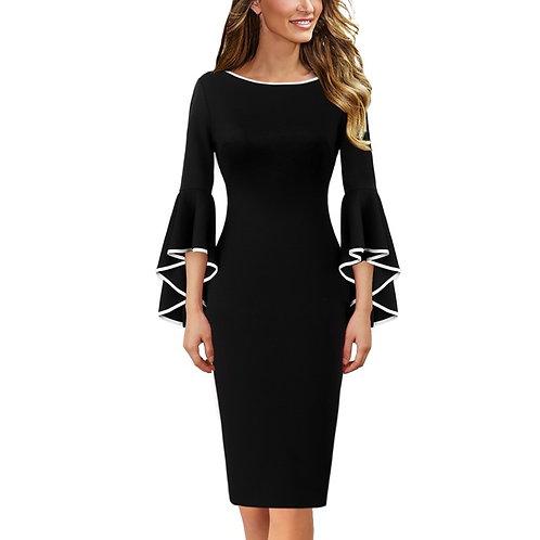 Vfemage Bell-Sleeve Dress