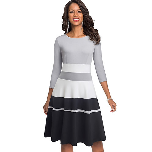 Homeyee Colorblock Fit and Flare Dress