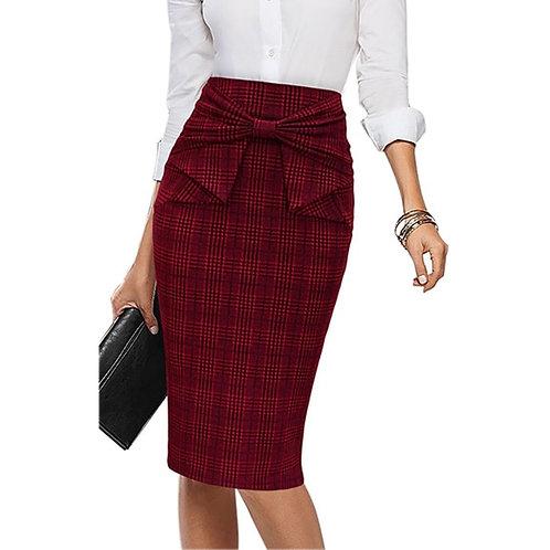 Vfemage Plaid Bow Waist Skirt