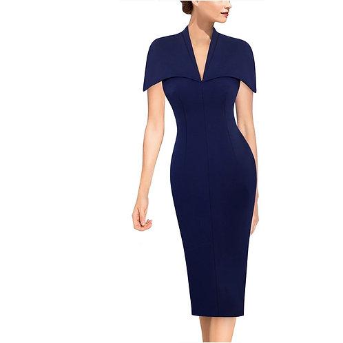Vfemage V-Neck Cape Dress