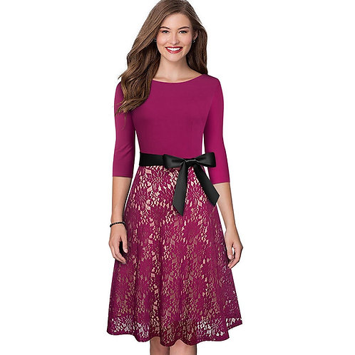 Homeyee Lace Fit and Flare Dress