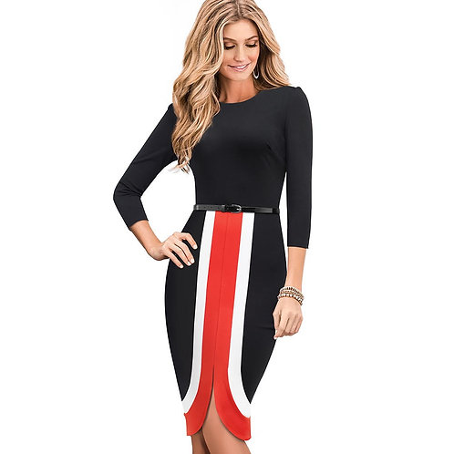 Homeyee Colorblock Body-Con Dress