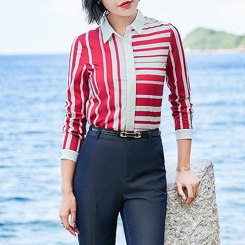 Lenlot Asymmetrical Striped Shirt