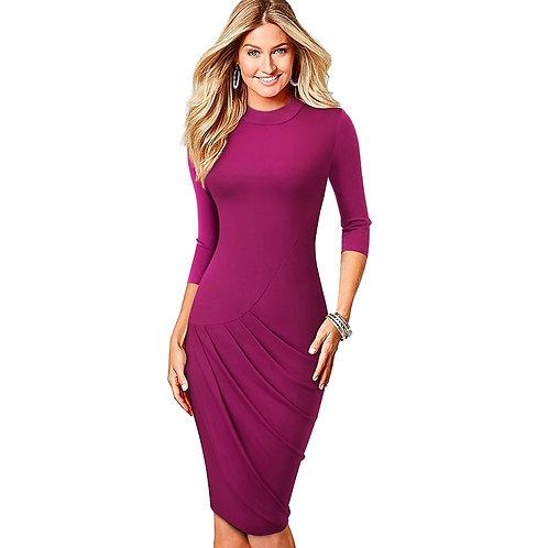 Homeyee Pleated Detail Body-Con Dress