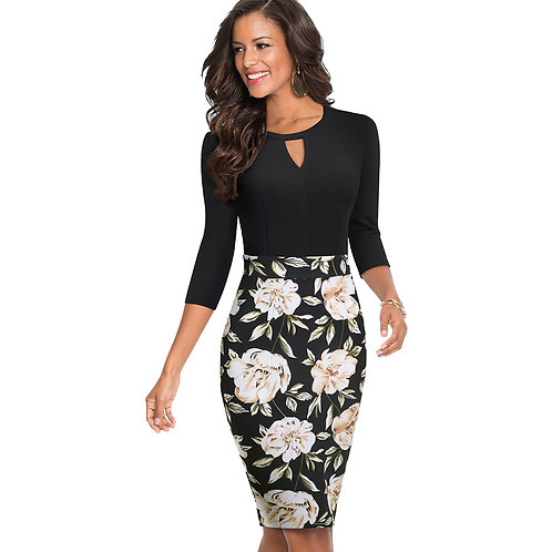 Homeyee Floral-Print Body-Con Dress