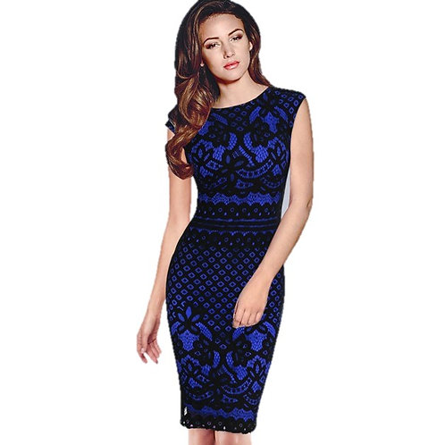 VfEmage Floral Lace Sleeveless Blue Dress