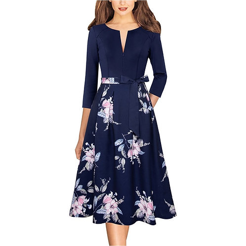 Vfemage Floral Fit and Flare Dress