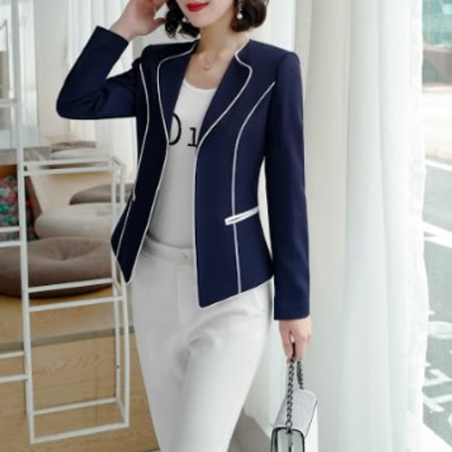Lenlot Contrast-Trim Single Button Blazer