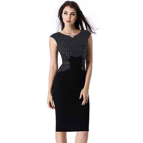 Vfemage Striped Ruched Dress