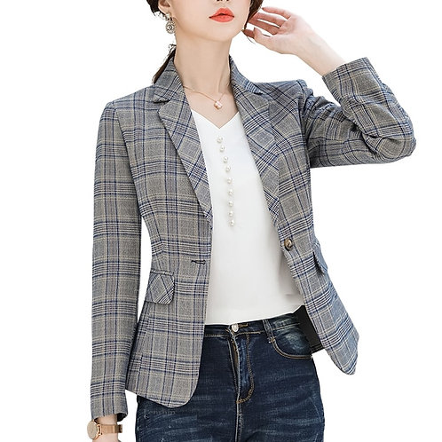 Lenlot One Button Plaid Blazer