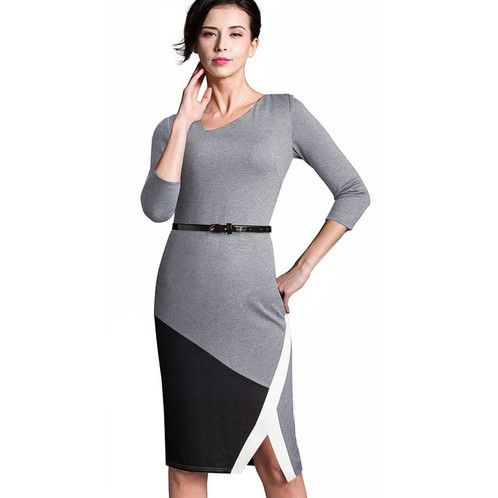 1a8576f846 HOMEYEE Contrast Belted Dress