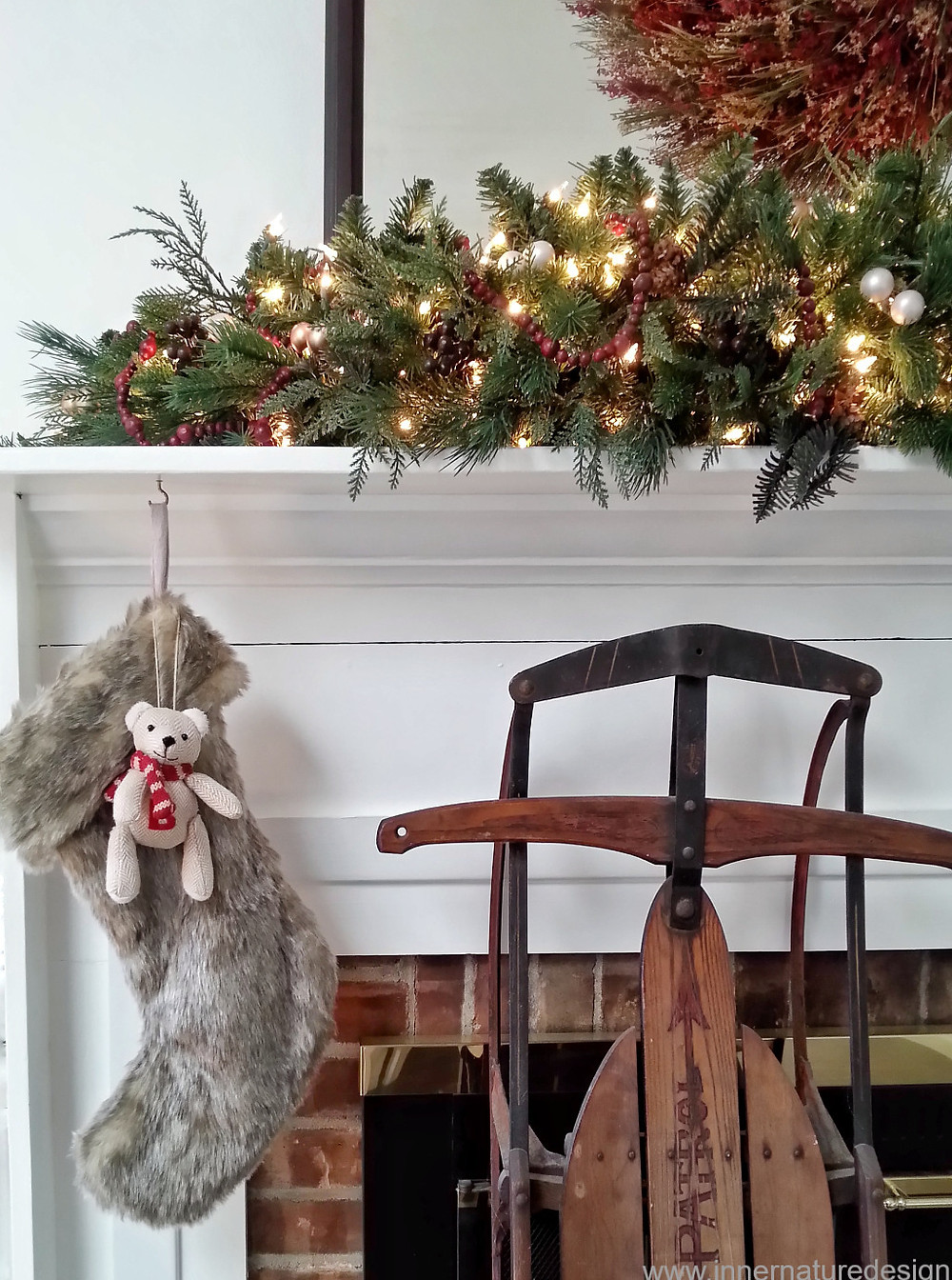 Christmas Mantel with Antique Sled