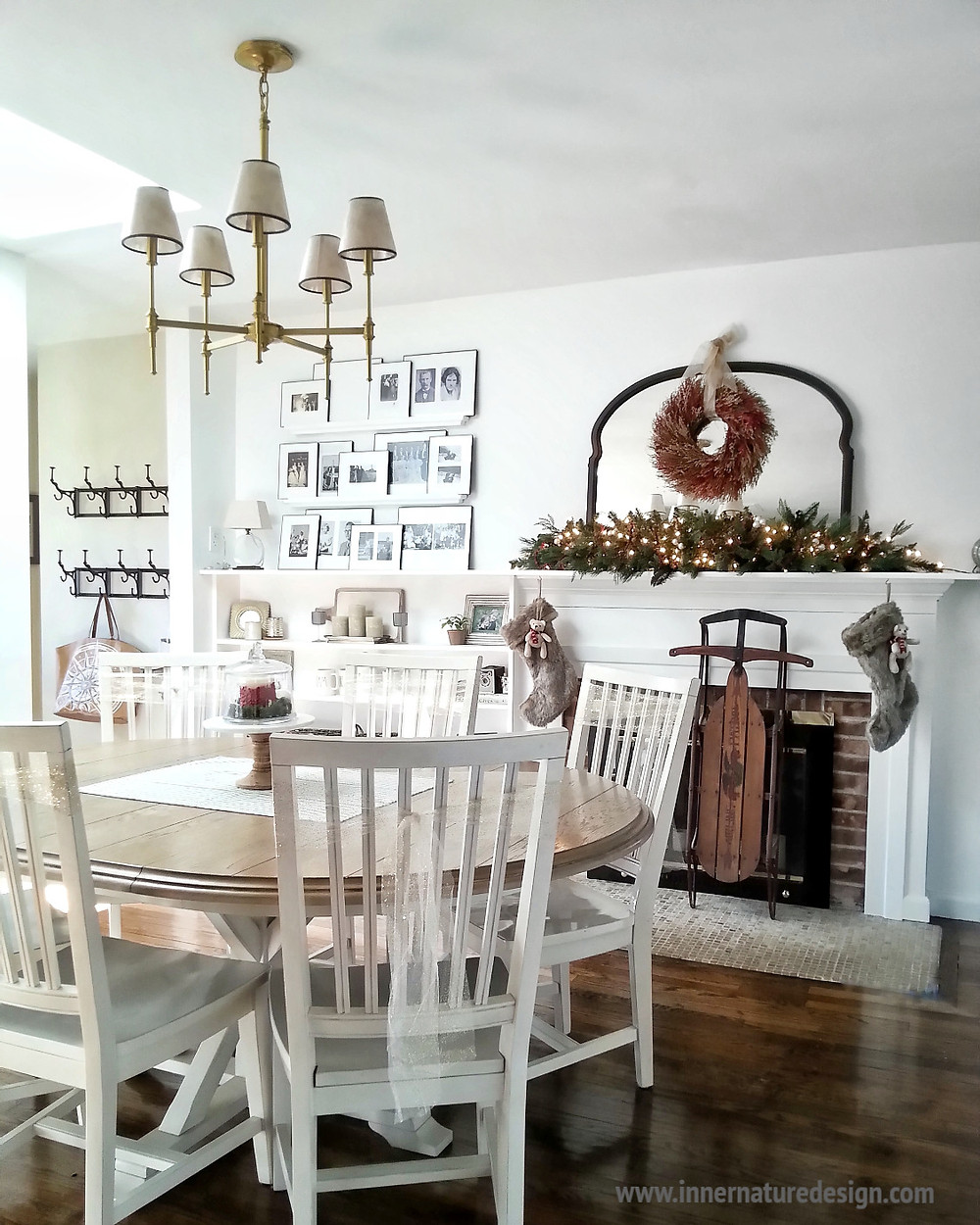 Christmas Dining Room with Fireplace