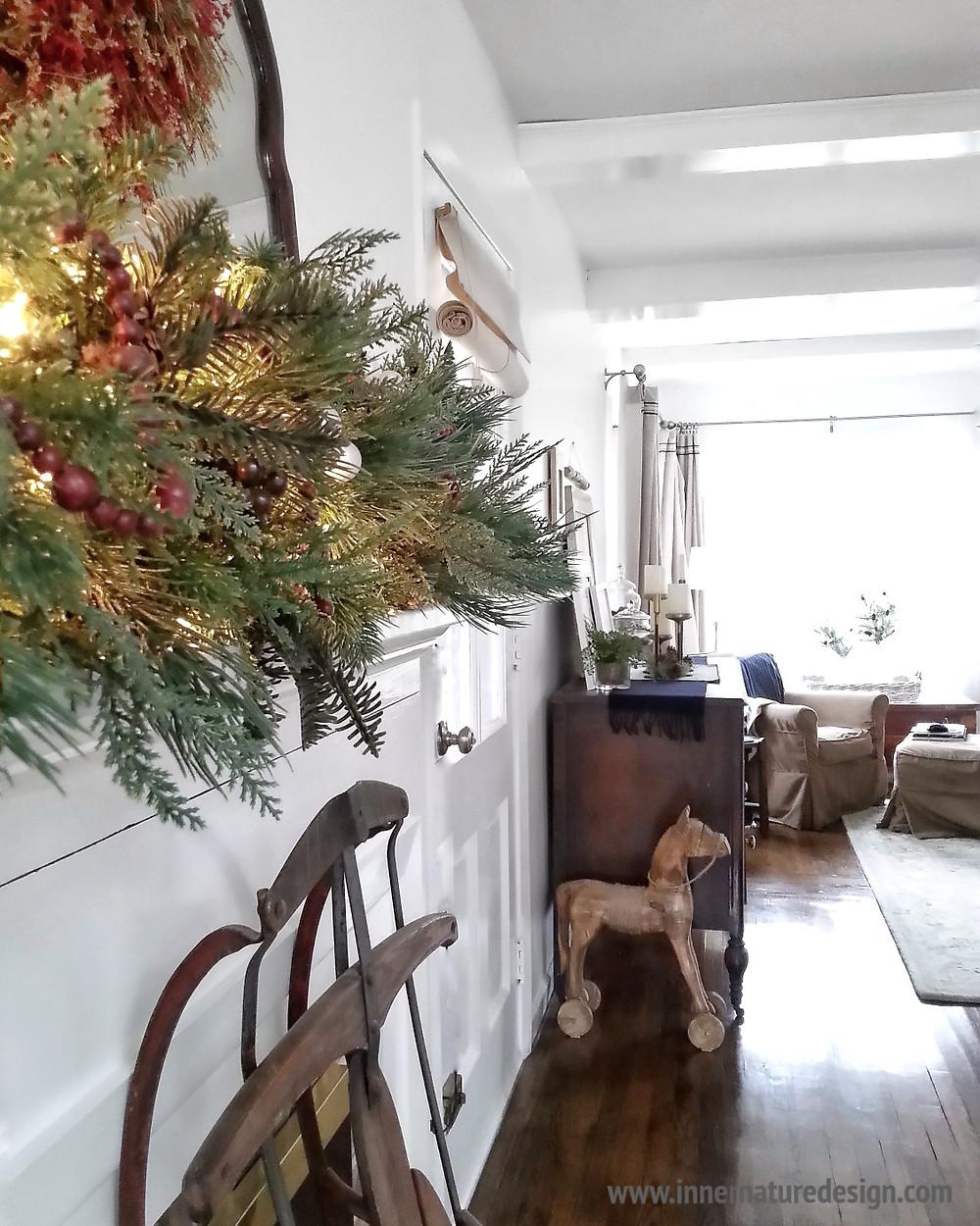 Christmas Mantel with Living Room View