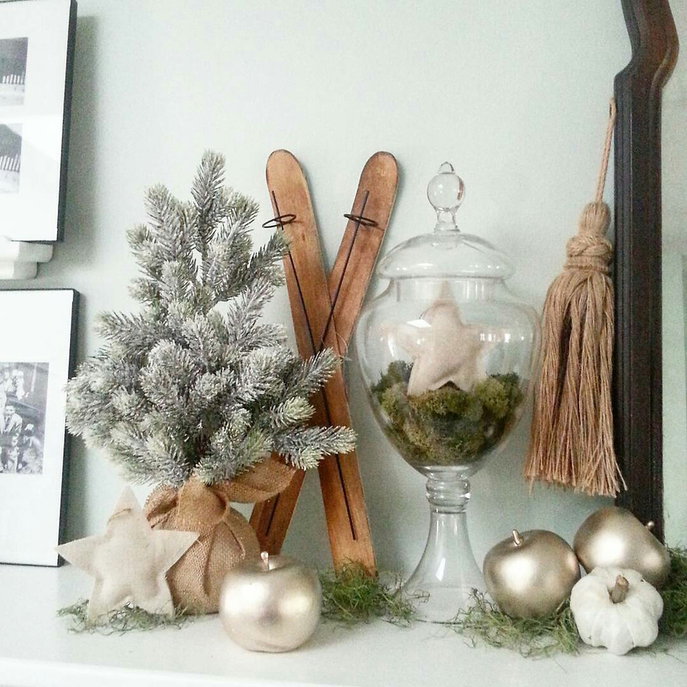 winter mantel makeover