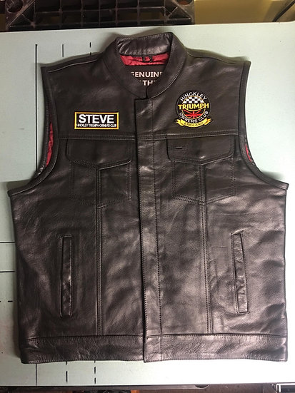 Full leather HTOC WAIST COAT  (with embroidered name patch of your choice )