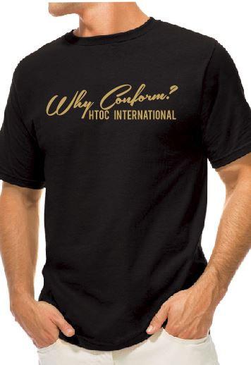 Gold logo 'Why Conform? T-shirt