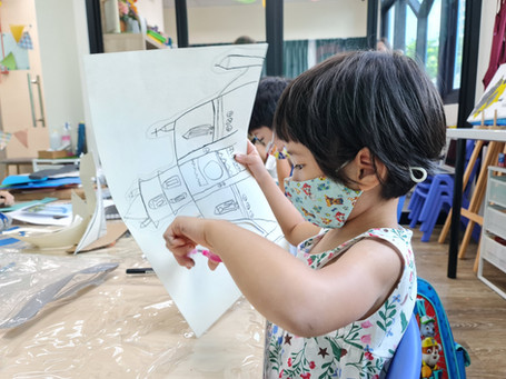 New children's art studio with first student exhibition at Middle Road, Bugis