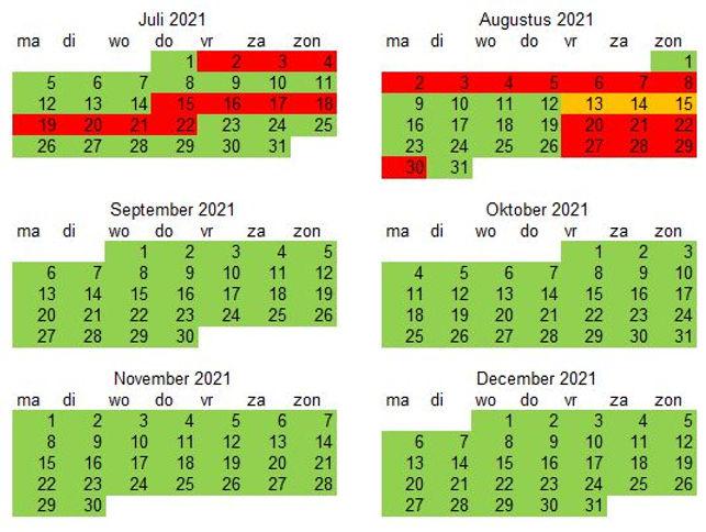 Vakantiewoning 2021 deel 2 Juli - decemb