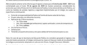 Comunicado Dirección General 03: Regreso a clases Ciclo Escolar 2020 - 2021
