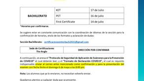 Comunicado: Cambio de fechas de Examen de Certificación (Bachillerato)