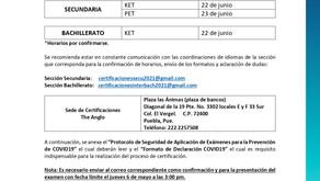 Comunicado Certificaciones Cambridge 2020-2021 (Secundaria y Bachillerato)