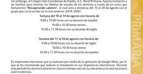 """Comunicado Primaria 03: Curso """"Recuperando saberes"""""""