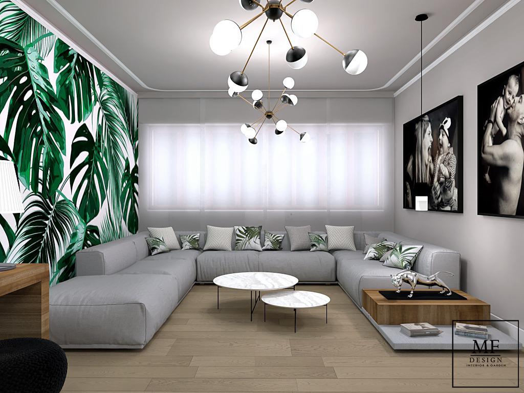 Salone di 30 mq con vista divano
