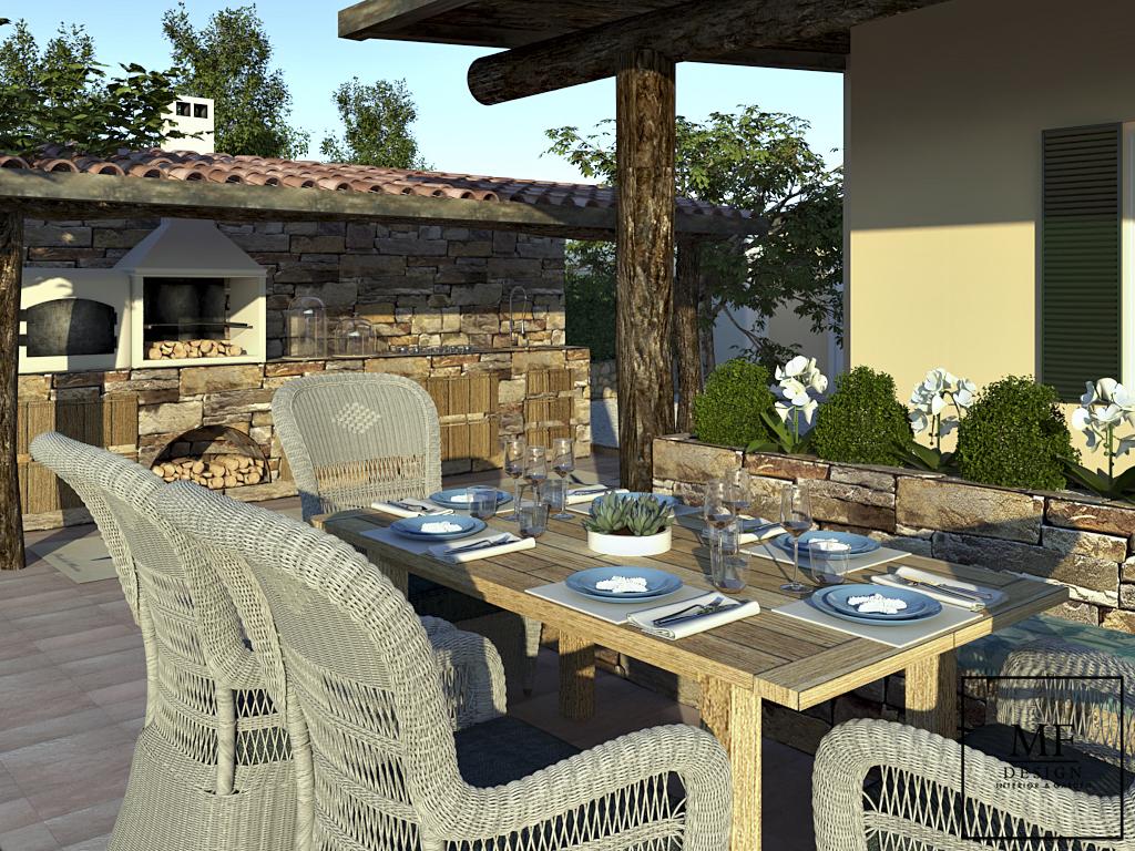Proposta cucina muratura classica con tettoia