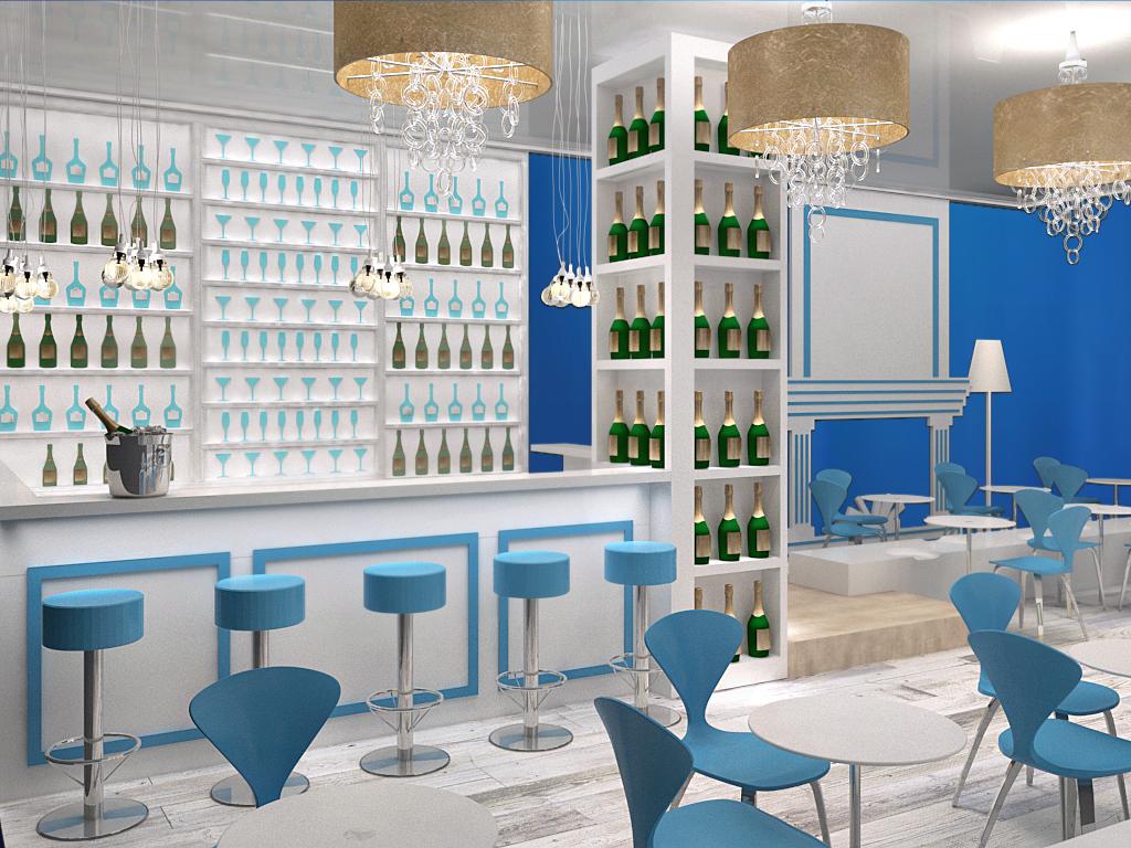 Rendering di progetto vista champagne bar