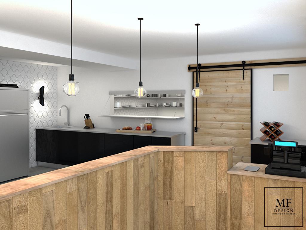 Zona cassa e cucina