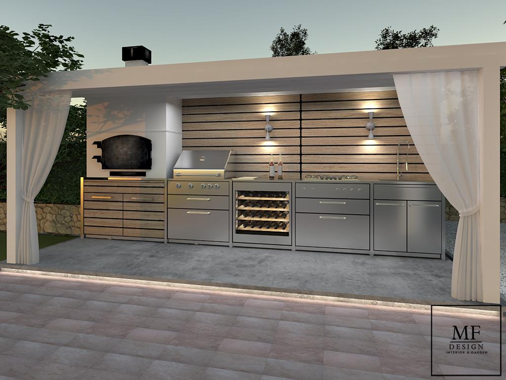 Proposta cucina esterna in acciaio con pergola