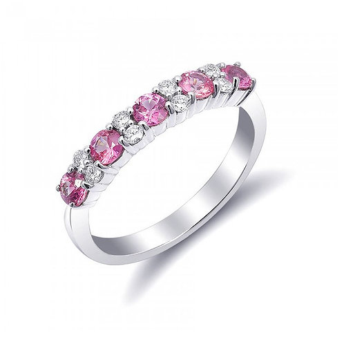 14k White Gold 0.90ct TGW Pink Sapphires and White Diamond Wedding Band