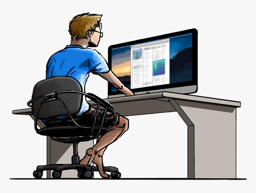 Guy Working on Website