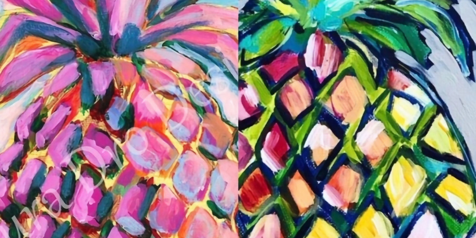 Paint and Sip at Home Art Webinar 'Tropical Pineapple'