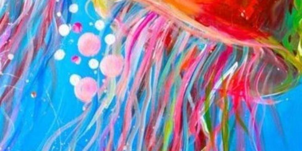 Paint and Sip at Home Art Webinar ' Jellyfish'
