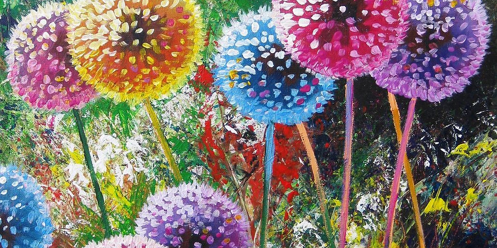 ZOOM RECORDING Paint and Sip at Home 'Colourful Dandelions'