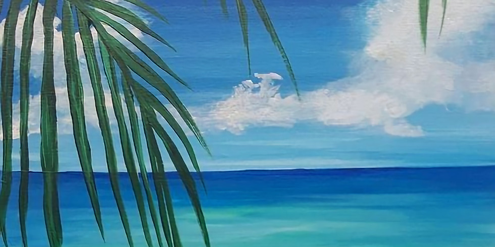 Paint and Sip at Home Art Webinar 'Longing for the Beach'